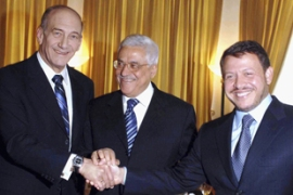 Olmert, Abbas and Abdullah pose during a Nobel Laureates seminar to discuss global crises  in June. [Picture: GALLO/GETTY]