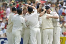 Matthew Hoggard (3rd left) was England's star player on day three taking four wickets