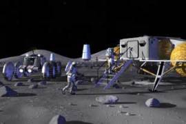 Two astronauts approach a lunar outpost - as imagined by Nasa