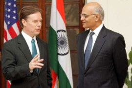 "Nicholas Burns, left, called the agreement with India a ""historic step"""