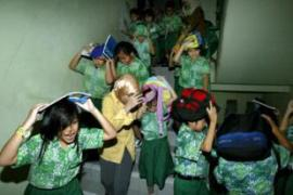 Earthquake drills are a fact of life for many in Indonesians