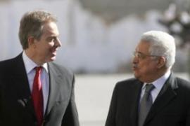 Blair, left, reiterated his support for Abbas