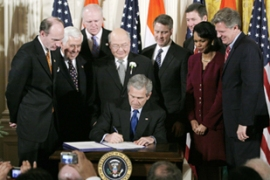 Bush signing the bill at the White House on Monday which makes changes to the US Atomic Energy Act