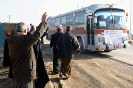 The pilgrims had travelled to the Saudi border by bus [EPA]