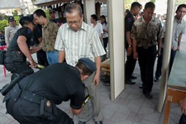 Worshippers at churches across Indonesia faced increased security and searches [EPA]