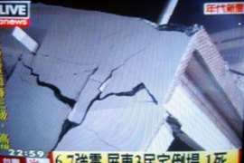 Taiwan television reports the damage in Pingtung [AFP]