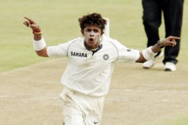 Sreesanth celebrates having bowled Boucher for 53on day one of the second test [GALLO/GETTY]