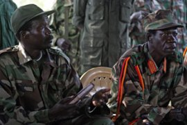 Joseph Kony, left, leader of the Lord's Resistance Army, remains at large [EPA]