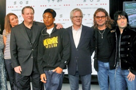 Gore, second from left, has been endorsed by  many people from the entertainment industry [Reuters]