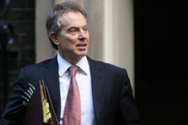Blair said UK forces would remain in Iraq in a training capacity and in order to secure supply lines [AFP]