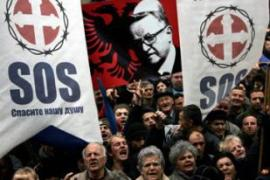 Thousands of Serbs attended the demonstration,bringing gridlock to the streets of Belgrade [AFP]