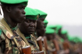 Ugandan troops make up about half the African Union peacekeeping force in Somalia [AFP]