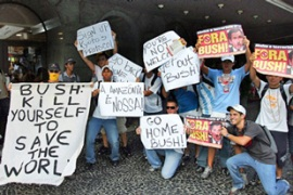 Protests greeted Bush's arrival in Brazil[AFP]