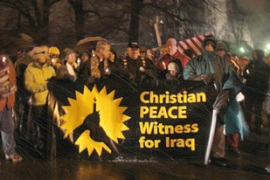 Christian activists took part in an anti-war procession late on Friday in Washington DC [AFP]