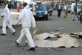 Police cordoned off the site of one of the suicide bombings that hit Casablanca on Tuesday [AFP]