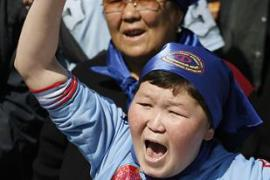 Protesters shouted slogans during the opposition rally in Ala Too square, Bishkek [Reuters]