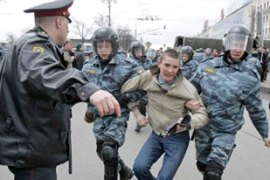 More than a hundred were detained in Saturday's protest in Moscow [Reuters]