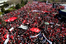 More than 200,000 demonstrators are estimated to have taken part in the protest [EPA]