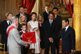 Sarkozy's wife Cecilia and the rest of their family during the ceremony at the Elysee palace [AFP]