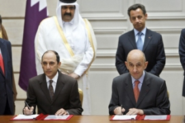 The deal was signed by Akbar al-Baker, left, and Louis Gallois in Toulouse on Wednesday [AFP]