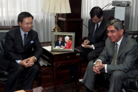 Huang, left, offered to resign after Arias announced Costa Rica's decision [EPA]