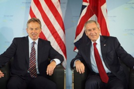 Blair, left, met Bush and discussed cutting greenhouse gas emissions [EPA]