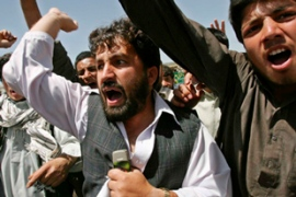 Afghans shouted in protest after US soldiers opened fire on civilians following the attack [EPA]