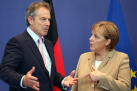 Serious talk: Blair won't sign up to anything that would relinquish control to the European Union [AFP]