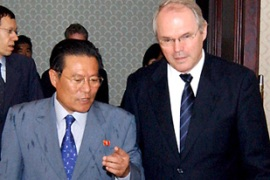 Christopher Hill, right, the US assistant secretary of state, paid a rare visit to Pyongyang [EPA]