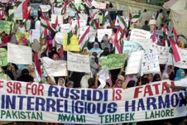 Salman Rushdie's knighthood has drawn protest in Pakistan in recent days [EPA]