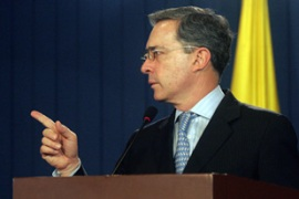 Alvaro Uribe has accused Farc of killingthe legislators in cold blood AFP]