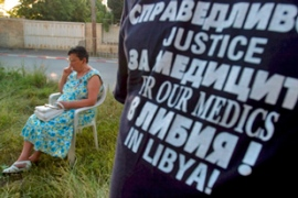 Relatives of the nurses have been campaigning in Bulgaria for their pardon [EPA]