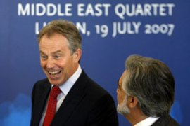 "Blair promised to work towards a ""viable"" Palestinian state [AFP]"