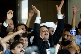 The ruling on Friday sparked celebrations by Chaudhry's supporters outside the court [AFP]
