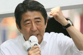 A defeat in the upper house elections could mean Abe loses his job [AFP]