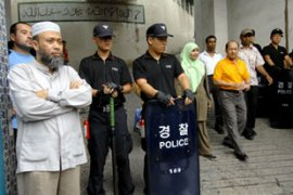 Protests have been held outside some mosques in Seoul [AFP]