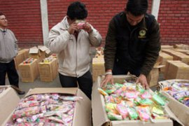More than 60 tonnes of toys were seized from a warehouse in central Lima [AFP]
