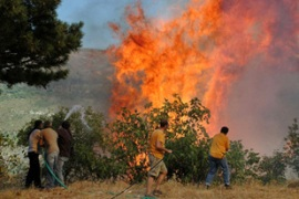 Hot winds have hampered the efforts of firefighters to control the blazes [AFP]