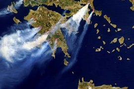 Satellite images show the extent of the blaze in the Peloponnese [AFP]
