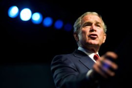 Bush addressed thousands of veterans at the American Legion convention in Reno [AFP]