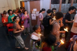 Prayers were held at Mother House in Kolkata [AFP]