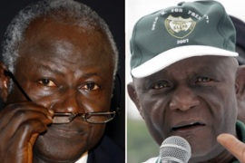 Koroma, left, leads berewa, right, by 20 points with a quarter of votes still to be counted [AFP]