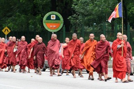 The monks are threatening a religious boycott of members of the ruling military [Reuters]