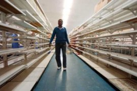 Supermarket shelves are empty in Zimbabwe, which is suffering from severe food shortages [EPA]