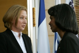 Rice, right, met Israeli leaders including Tzipi Livni, the foreign minister [AFP]