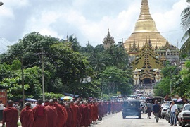 A series of marches by Buddhist monks has given new life to anti-government protests [AFP]