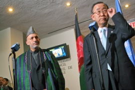 Karzai, left, and Ban co-chaired the Afghanistan Compact meeting at the UN on Sunday [AFP]