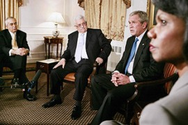 Bush is attempting to build momentum for November's peace conference [Reuters]