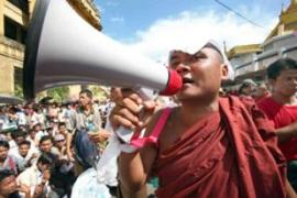 Buddhist monks have been spearheading pro-democracy demonstrations in major cities [AFP]