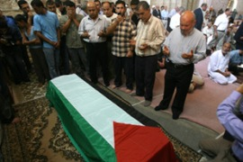 Hundreds of people attended Abdel Shafi's funeral in Gaza City on Tuesday [AFP]